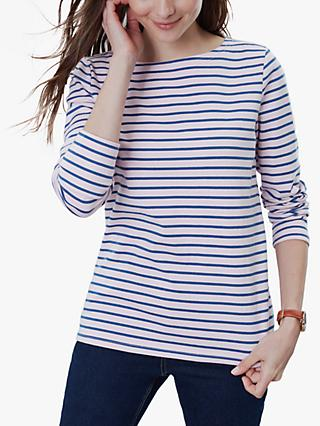 Joules Harbour Jersey Top, Pink/Navy