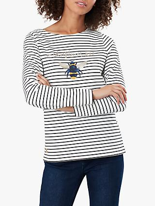 Joules Harbour Stripe and Bee Cotton Jersey Top, Cream