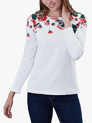 Joules Harbour Floral Border Print Jersey Top, Cream