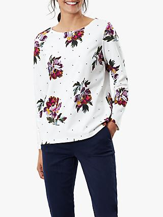 Joules Harbour Floral Print Long Sleeve Jersey Top, Cream/Multi