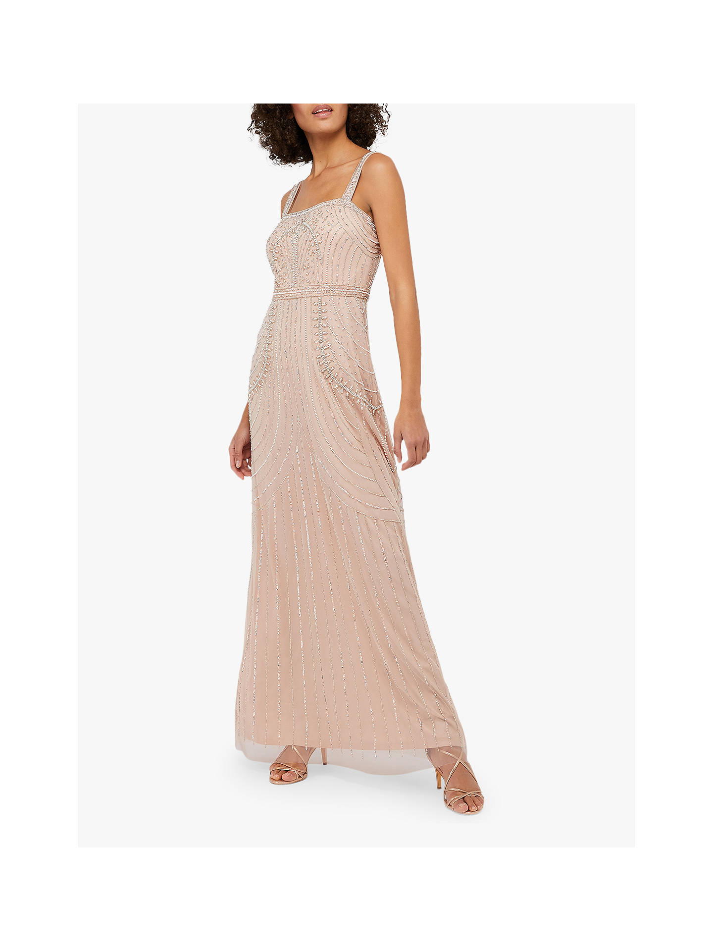 396129b809 Monsoon Lori Linear Embellished Maxi Dress, Blush