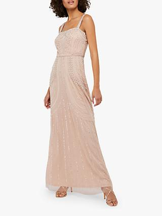 Monsoon Lori Linear Embellished Maxi Dress, Blush