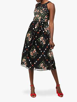 Monsoon Apple Embellished Midi Dress, Black