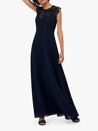 Monsoon Morgane Lace Maxi Dress, Navy