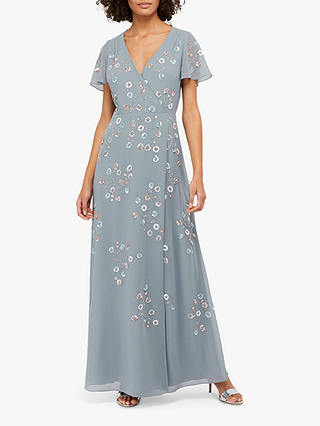 Buy Monsoon Ally Embellished Wrap Maxi Dress, Grey, 6 Online at johnlewis.com