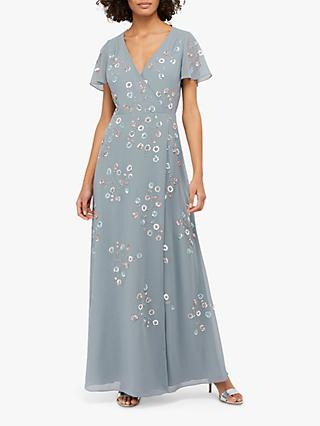 Monsoon Ally Embellished Wrap Maxi Dress, Grey