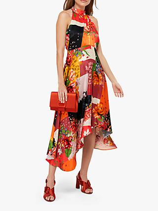 Monsoon Piper Patch Print Hanky Hem Dress, Orange/Multi