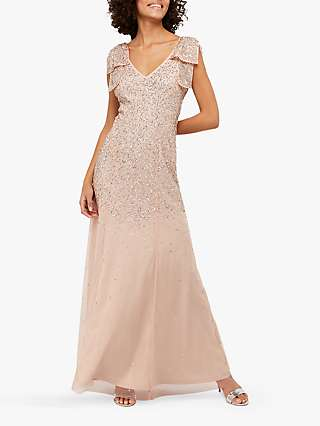 Monsoon Molly Scatter Embellished Maxi Dress, Blush