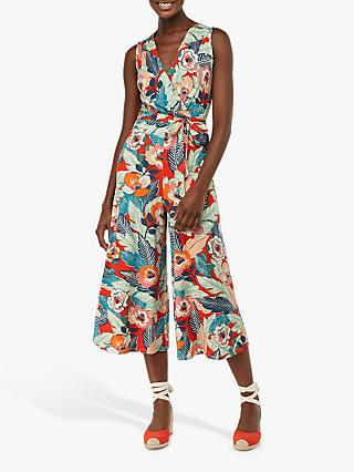 Monsoon Paquita Print Jumpsuit, Red/Multi