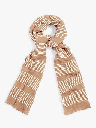 Phase Eight Stevie Stripe Scarf, Stone/Ivory