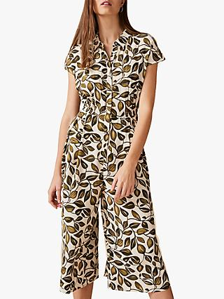 Phase Eight Palm Print Jumpsuit, Ivory/Multi