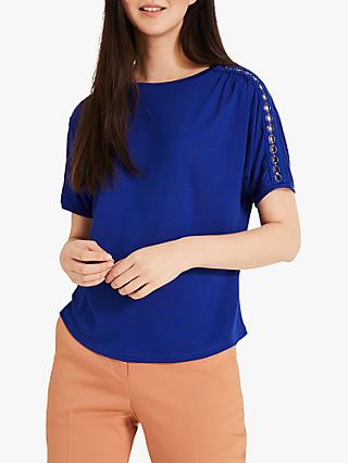Phase Eight Electra Eyelet Top, Cobalt