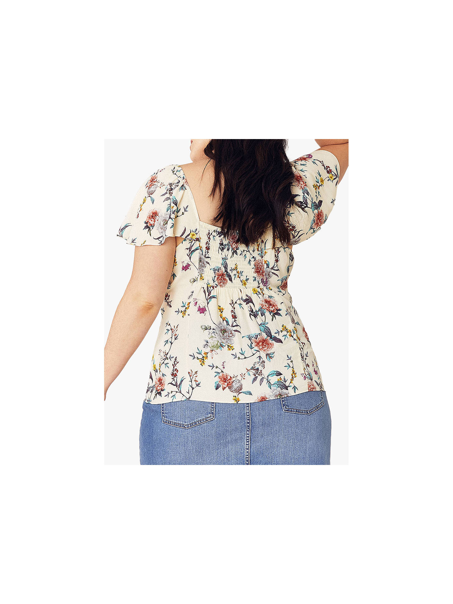 Buy Oasis Curve Louisa Tie Front Floral Top, Multi/Natural, 26 Online at johnlewis.com