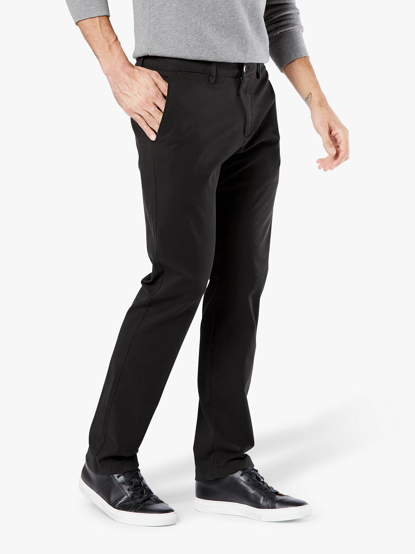 Buy Dockers Smart 360 Flex Slim Corduroy Chinos, Black, 34R Online at johnlewis.com