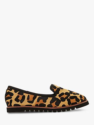 Dune Wide Fit Galleon Ridged Loafers, Leopard Print