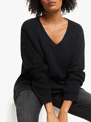AND/OR Layla Rib Knit Jumper, Black
