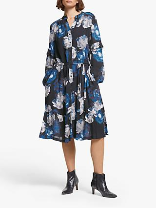 AND/OR Layla Rosetta Floral Shirt Dress, Blue/Black