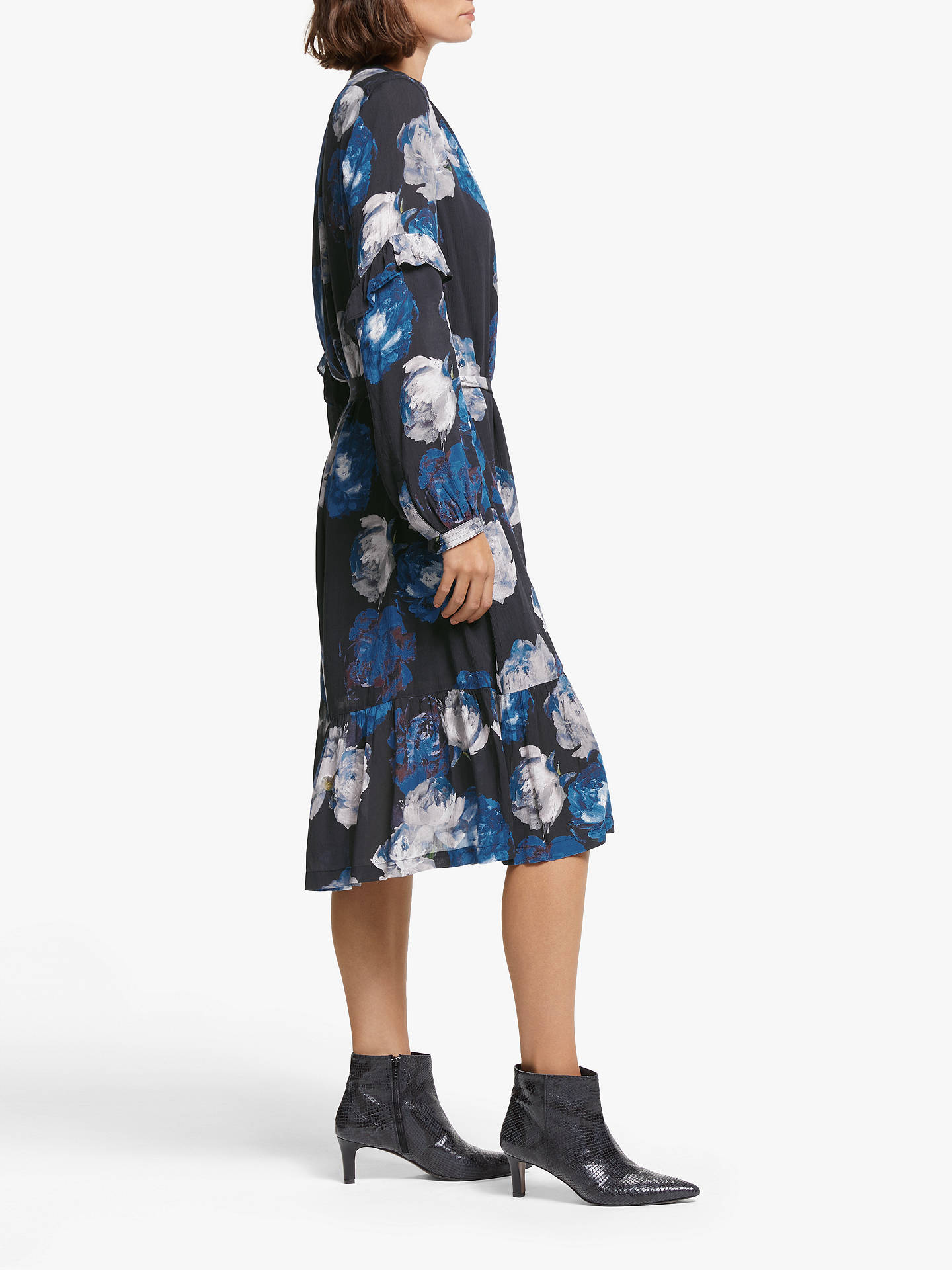 Buy AND/OR Layla Rosetta Floral Shirt Dress, Blue/Black, 16 Online at johnlewis.com