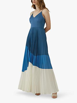Karen Millen Pleated Maxi Dress, Blue/Multi