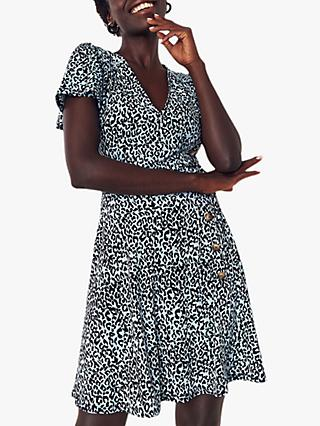 Oasis Leopard Button Dress, Multi Blue