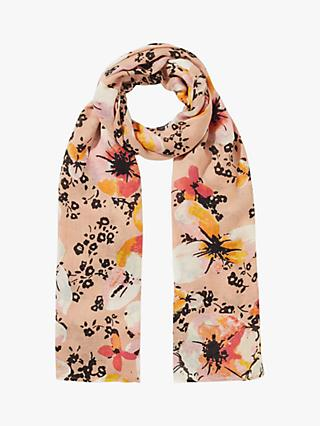 Jigsaw Sunbleached Floral Print Scarf, Pink