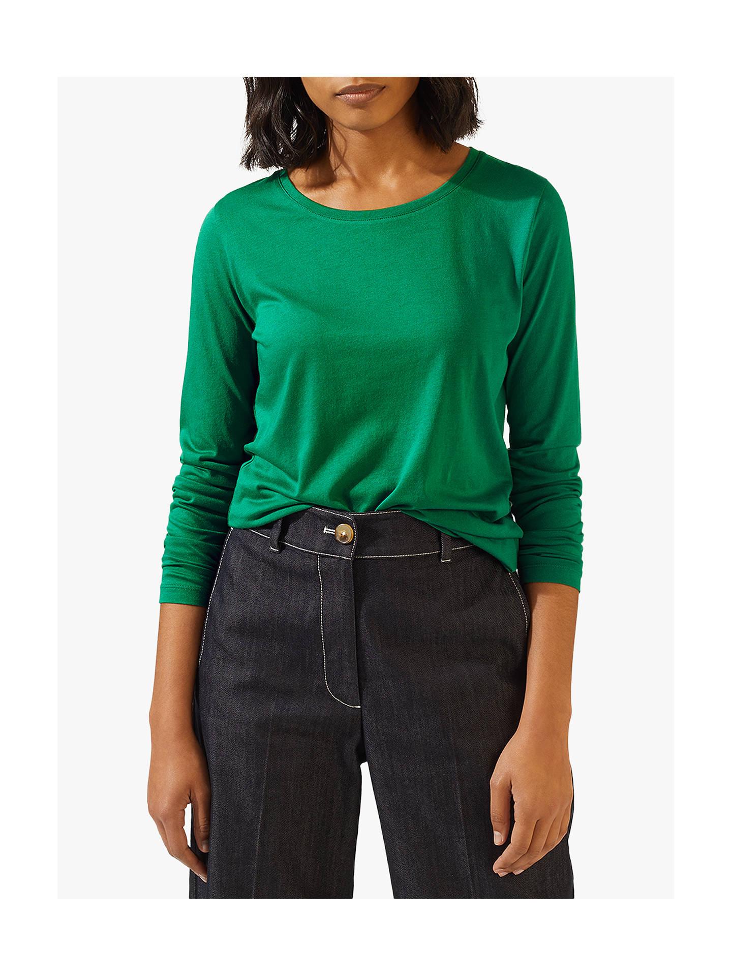 Jigsaw Pima Cotton Long Sleeve T Shirt, Emerald by Jigsaw