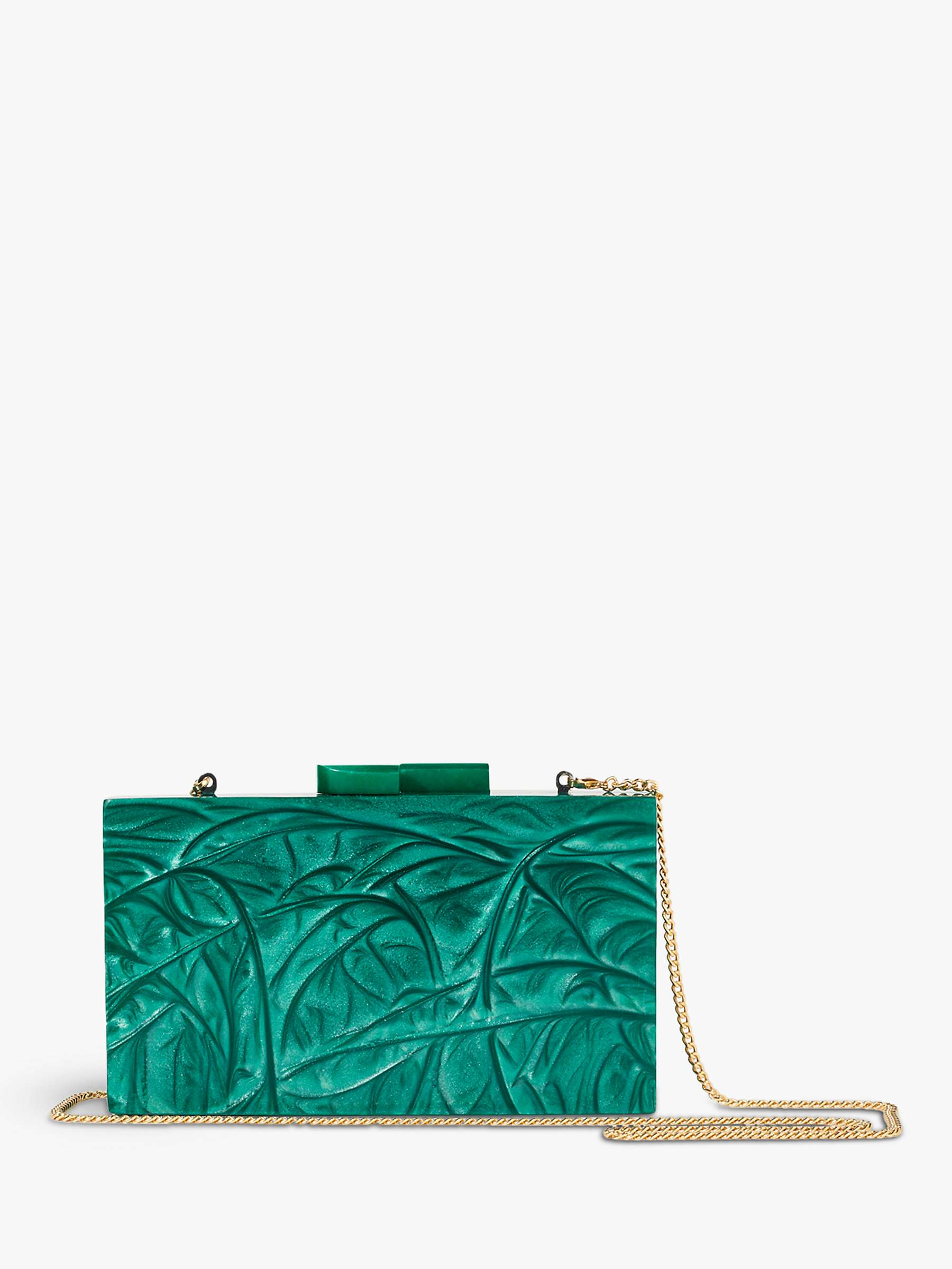 Jigsaw Marbled Resin Clutch, Green by John Lewis