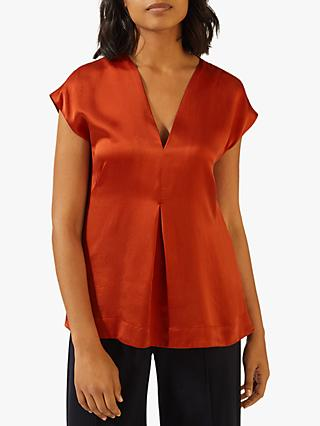 Jigsaw Silk V-Neck Top, Auburn
