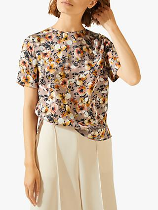 Jigsaw Sunbleached Floral Silk Top, Dusty Pink