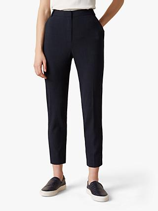 Jigsaw Relaxed Check Portofino Trousers, Navy