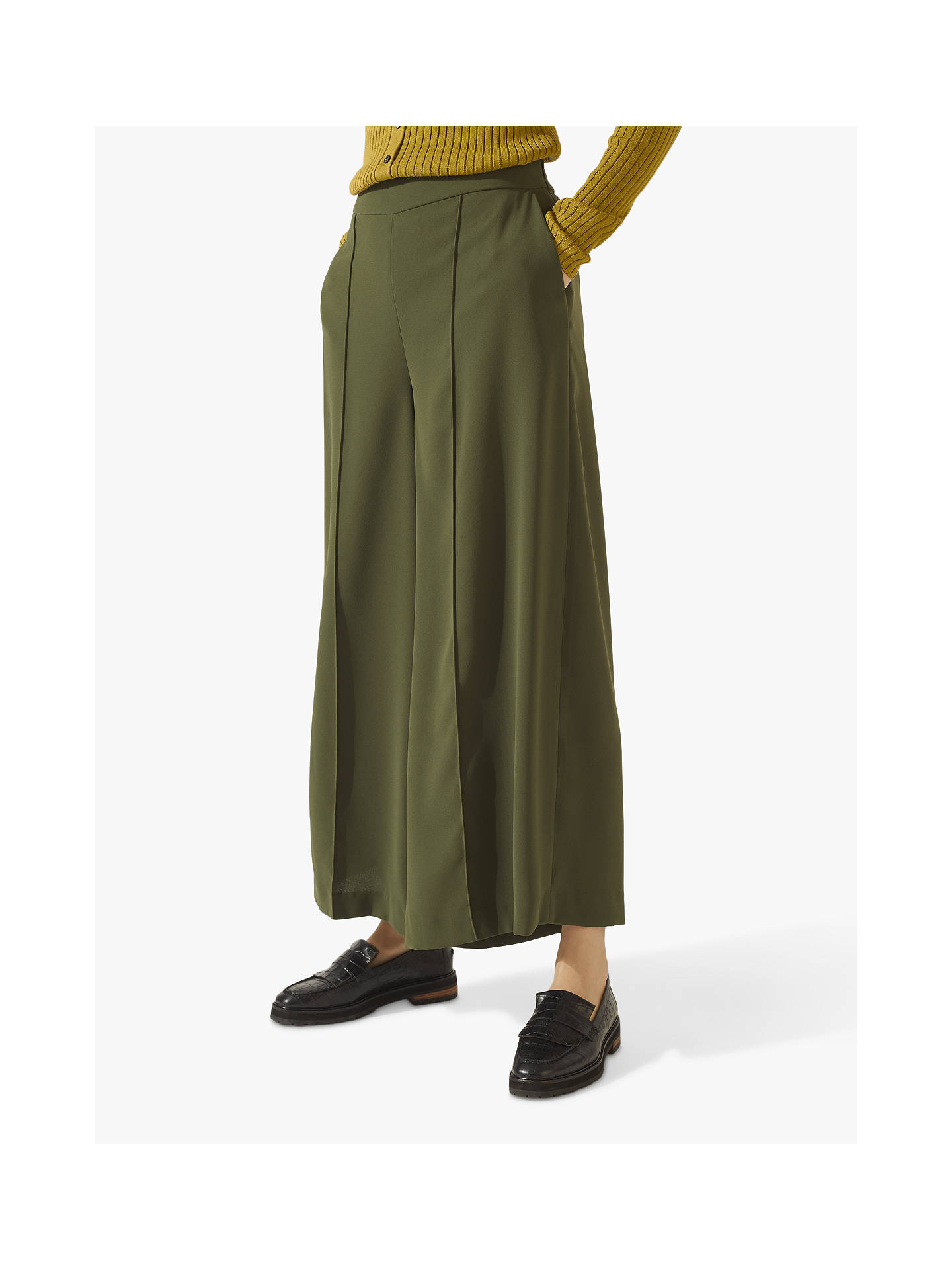 Buy Jigsaw Relaxed Culottes, Khaki, 6 Online at johnlewis.com