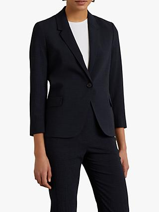 Jigsaw Portofino Check Jacket, Navy