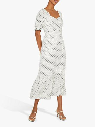 Warehouse Polka Dot Midi Prairie Dress