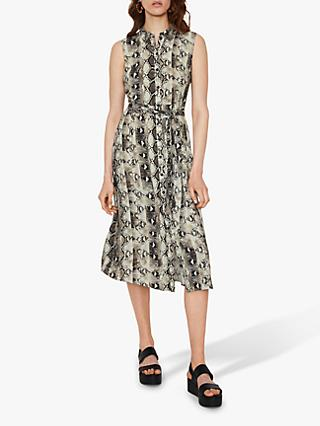 Warehouse Snake Print Belted Dress, Multi