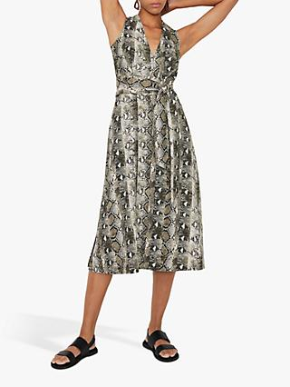 Warehouse Snake Midi Print Dress, Grey Pattern