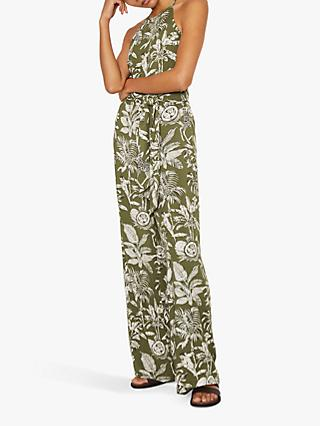 Warehouse Jungle Print Sleeveless Jumpsuit, Green