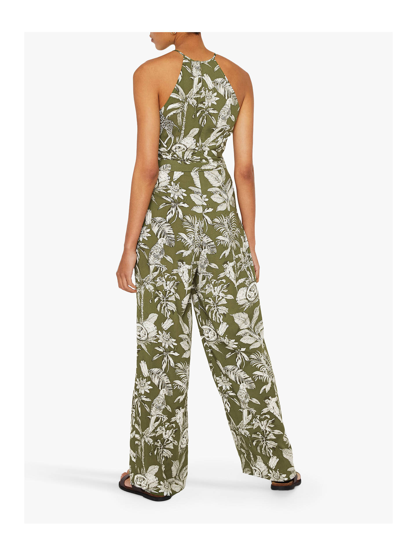 Buy Warehouse Jungle Print Sleeveless Jumpsuit, Green, 18 Online at johnlewis.com