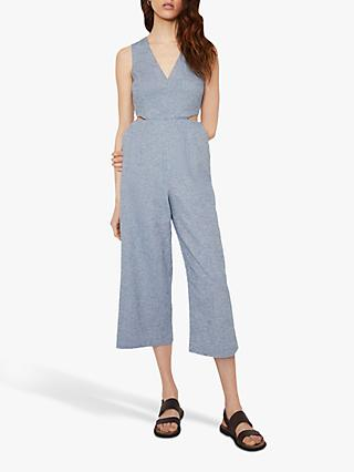 Warehouse Chambray Cut Out Jumpsuit, Light Blue