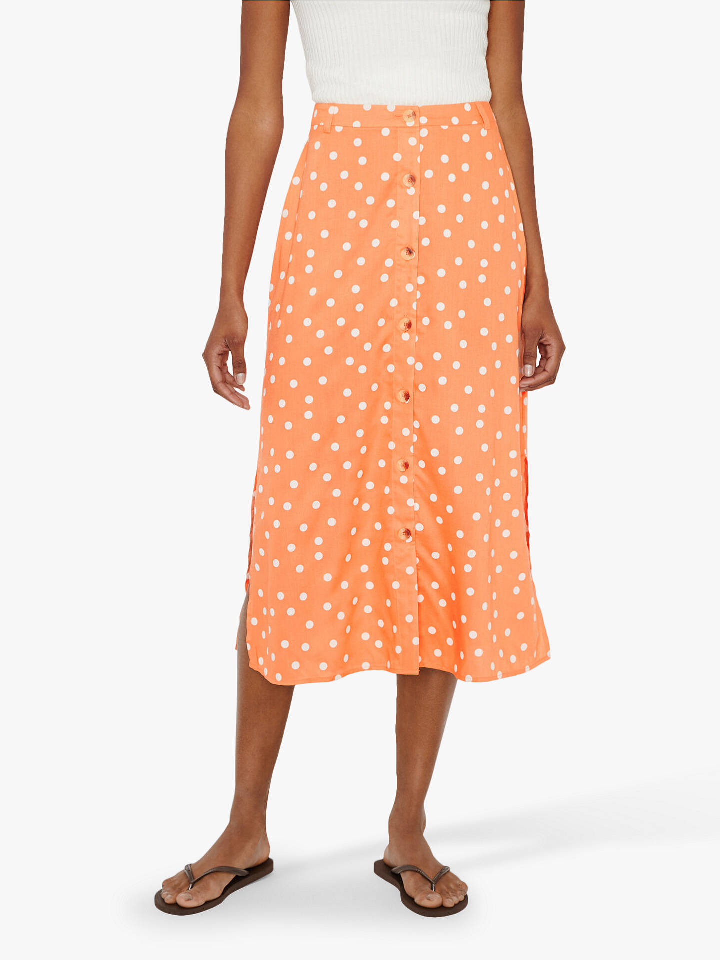 Warehouse Polka Dot Button Midi Skirt, Coral
