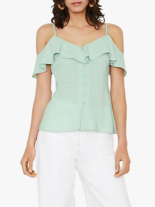 Warehouse Ruffled Cold Shoulder Top