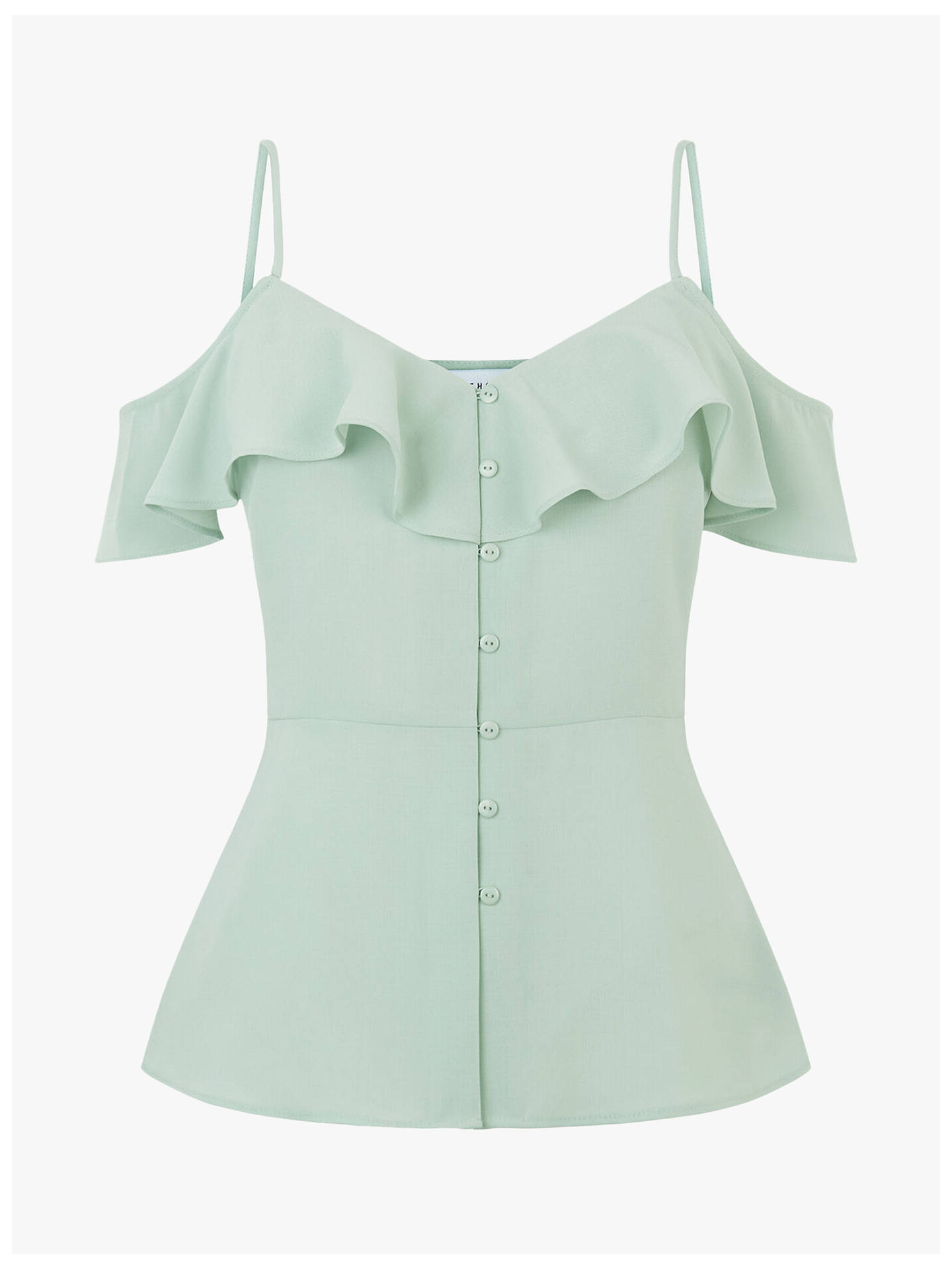 Buy Warehouse Ruffled Cold Shoulder Top, Light Blue, 10 Online at johnlewis.com