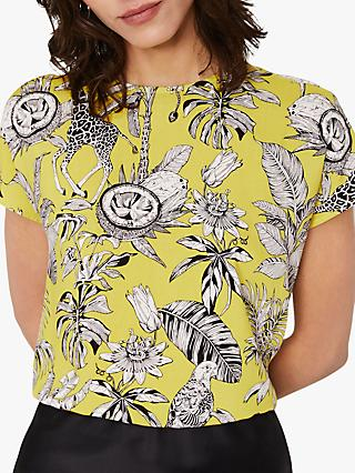 Warehouse Jungle Button Back Top, Yellow