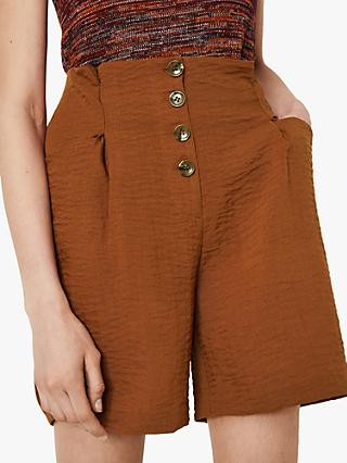 Warehouse Textured Crepe Shorts, Rust