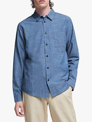It's All Good Folk Chambray Standard Fit Long Sleeve Shirt, Blue
