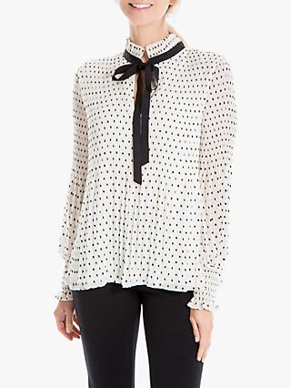 Max Studio Pleated Dot Blouse, White/Black