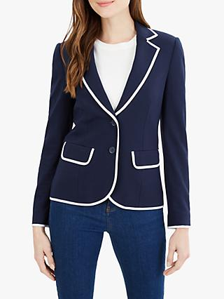 Jaeger Piped Jersey Jacket, Navy