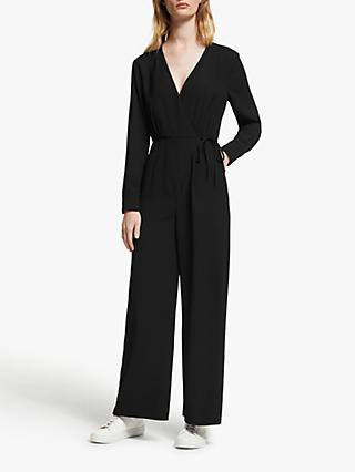 John Lewis & Partners Wrap Jumpsuit, Black