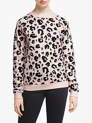 Scamp & Dude Unisex Crew Neck Leopard Print Sweatshirt, Blush/Black