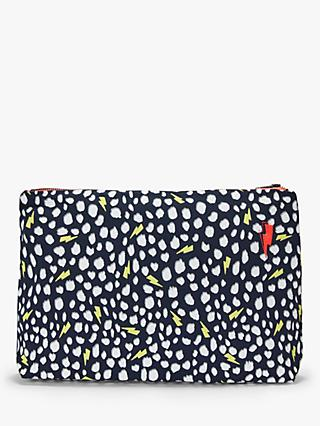 Scamp & Dude Large Cheetah Print Swag Bag, Navy/Yellow