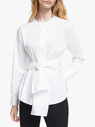 John Lewis & Partners Tie Front Shirt, White